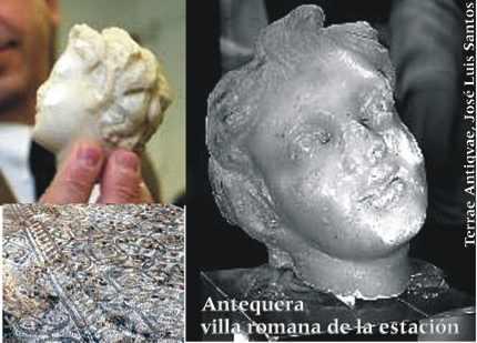 Hallan la talla de un sátiro del siglo II junto a la villa romana de Antequera