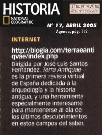 La revista Historia National Geographic recomienda Terrae Antiqvae