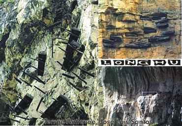 China. Montañas Wuyi, lugar de las más tempranas tumbas construidas sobre barrancos