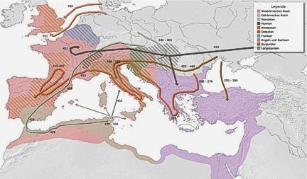 Mapa invasiones pueblos bárbaros