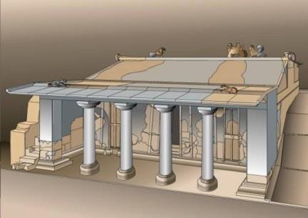 Ricostruzione della tomba a Portico Tuscania