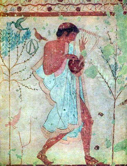 Etruscan fresco found in Orvieto Italy