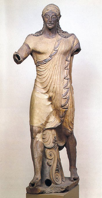 Apollo acroterion from the Etruscan Temple at Veii painted terra cotta 510 BC