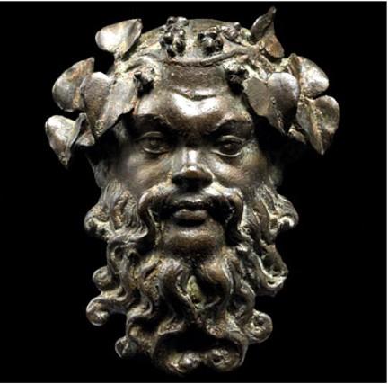 Afganistán Masque de Silène trésor de Begram bronze