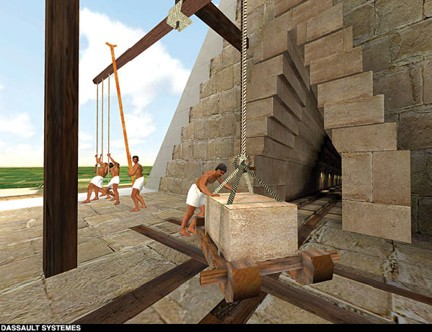 Wooden hoists on notches left in the edge of the pyramid