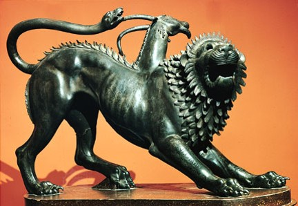 Chimera Etruscan bronze sculpture from Arezzo Italy 5th4th century BC In the Archeological Museum Florence