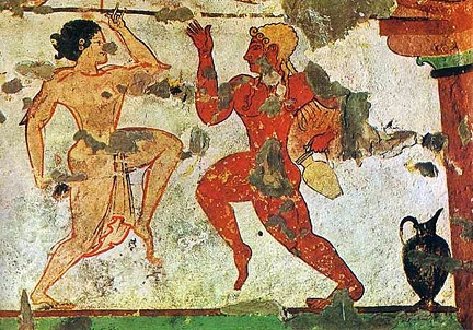 Two Dancers detail from the Etruscan Tomb of the Lionesses Tarquinia 480 470 BC