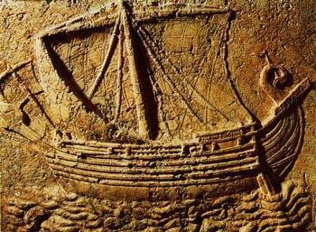 Bas-Relief de bateau phénicien datant du 1er siècle avant JC