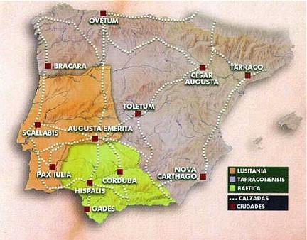 Mapa división Hispania romana